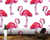 Summer Pink Flamingos wall mural kitchen preview