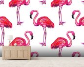 Summer Pink Flamingos wall mural living room preview
