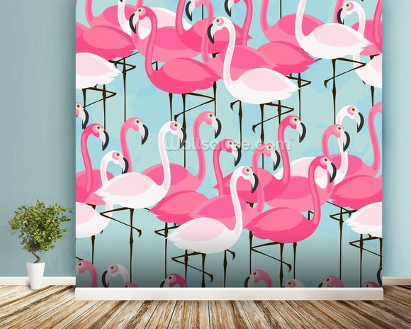 Flock of Flamingos mural wallpaper room setting