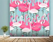 Flock of Flamingos mural wallpaper in-room view