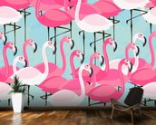 Flock of Flamingos mural wallpaper kitchen preview