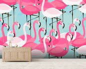 Flock of Flamingos mural wallpaper living room preview