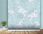 Light Blue & White Flamingos wall mural in-room view