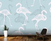 Light Blue & White Flamingos wall mural kitchen preview