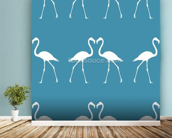 White Flamingos wallpaper mural room setting