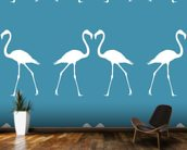 White Flamingos wallpaper mural kitchen preview