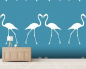 White Flamingos wallpaper mural living room preview