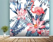 Blue Palm Flamingos wall mural in-room view
