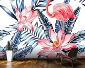 Blue Palm Flamingos wall mural kitchen preview