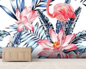 Blue Palm Flamingos wall mural living room preview