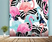 Flamingos with Butterflies wallpaper mural in-room view
