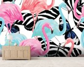 Flamingos with Butterflies wallpaper mural living room preview
