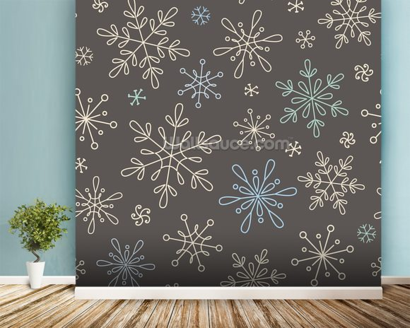 Luxury Winter Snowflakes Wallpaper Mural Room Setting