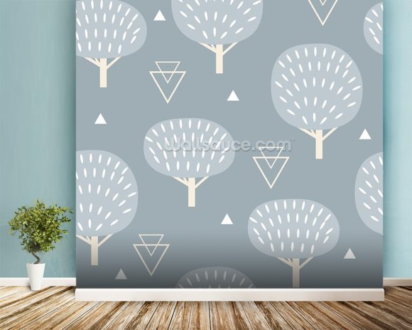Cool Winter Woodland wall mural room setting