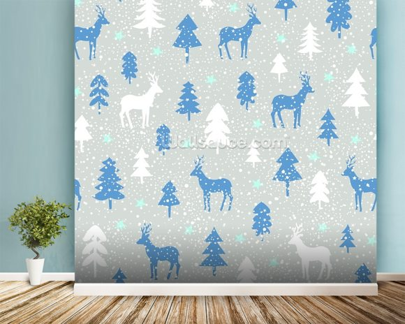 Snowbound Deer wallpaper mural room setting