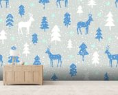 Snowbound Deer wallpaper mural living room preview