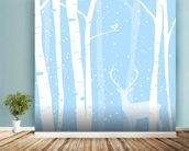 Winter Friends mural wallpaper in-room view