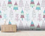 Cute Christmas Trees wall mural living room preview