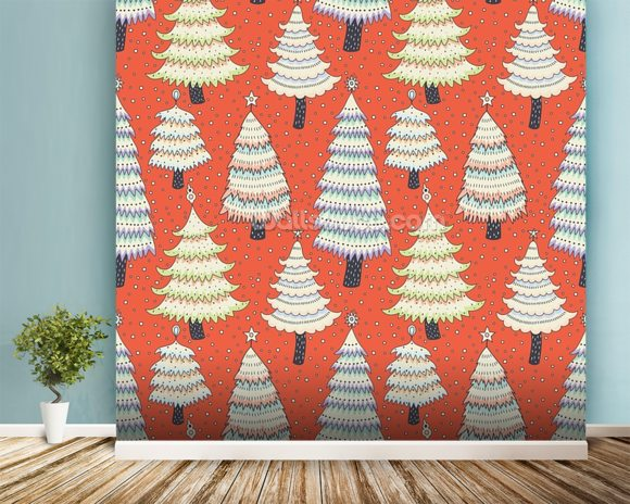 Christmas Tree Forest wall mural room setting