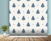 Christmas Tree Forest Blue wallpaper mural in-room view