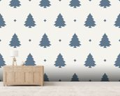 Christmas Tree Forest Blue wallpaper mural living room preview