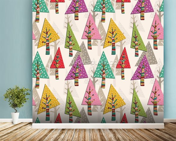 Colourful Christmas Trees wallpaper mural room setting