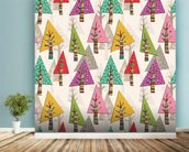 Colourful Christmas Trees wallpaper mural in-room view