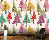 Colourful Christmas Trees wallpaper mural kitchen preview
