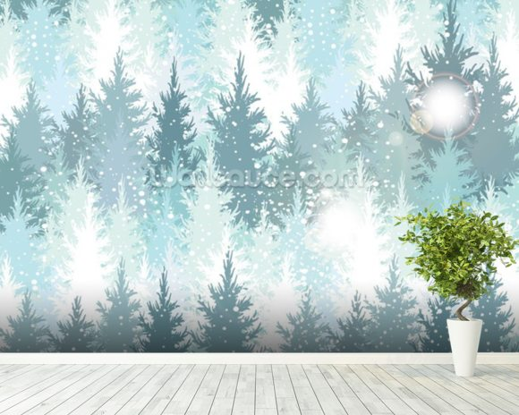 Winter Forest wall mural room setting