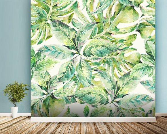 Exotic Summer Leaves wall mural room setting