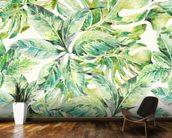 Exotic Summer Leaves wall mural kitchen preview