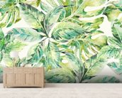 Exotic Summer Leaves wall mural living room preview