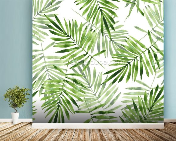 Green Palms mural wallpaper room setting
