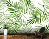 Green Palms mural wallpaper kitchen preview
