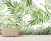 Green Palms mural wallpaper living room preview