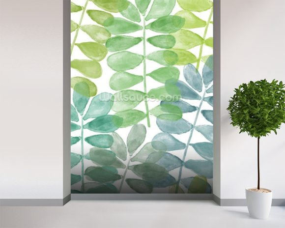 Sunshine Leaves Watercolour wall mural room setting