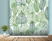 Dark and Light Green Leaves mural wallpaper in-room view