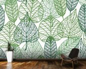 Dark and Light Green Leaves mural wallpaper kitchen preview