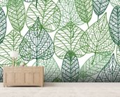 Dark and Light Green Leaves mural wallpaper living room preview