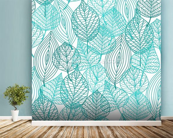 Turquoise Blue Autumn Leaves wallpaper mural room setting