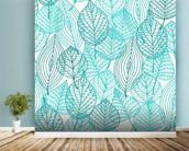 Turquoise Blue Autumn Leaves wallpaper mural in-room view