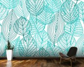 Turquoise Blue Autumn Leaves wallpaper mural kitchen preview