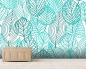 Turquoise Blue Autumn Leaves wallpaper mural living room preview