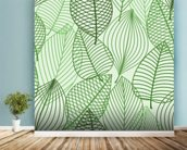 Green Autumnal Leaves wallpaper mural in-room view