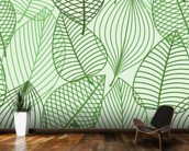 Green Autumnal Leaves wallpaper mural kitchen preview