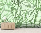 Green Autumnal Leaves wallpaper mural living room preview