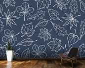 Autumnal Leaves Blue mural wallpaper kitchen preview