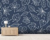 Autumnal Leaves Blue mural wallpaper living room preview