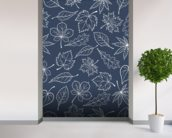 Autumnal Leaves Blue mural wallpaper in-room view