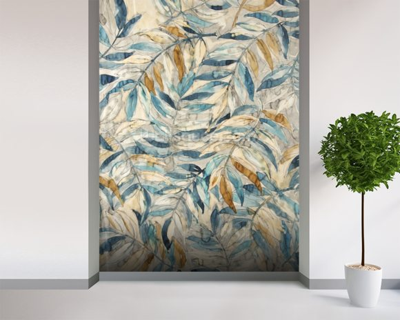 Gentle Leaf Blues - Watercolour wallpaper mural room setting